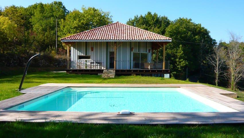 maison bois, jardin et piscine - Luzech - Casa