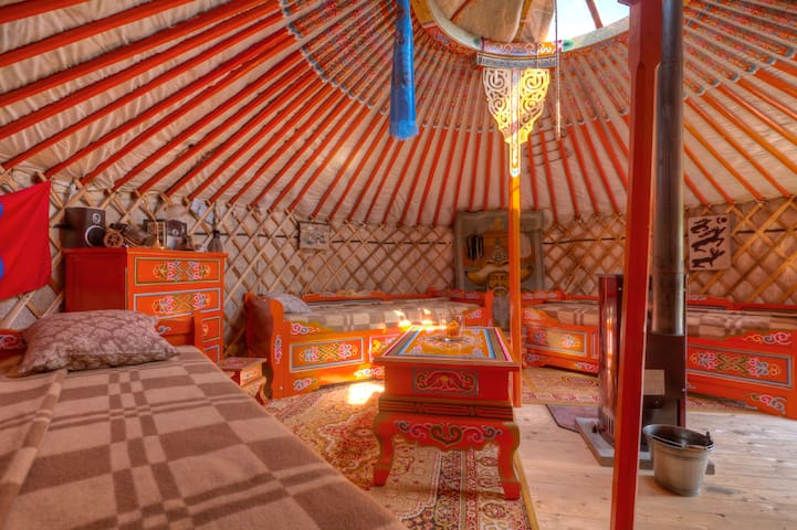 Mongolian yurt at the dyke of Elbe - Hollern-Twielenfleth